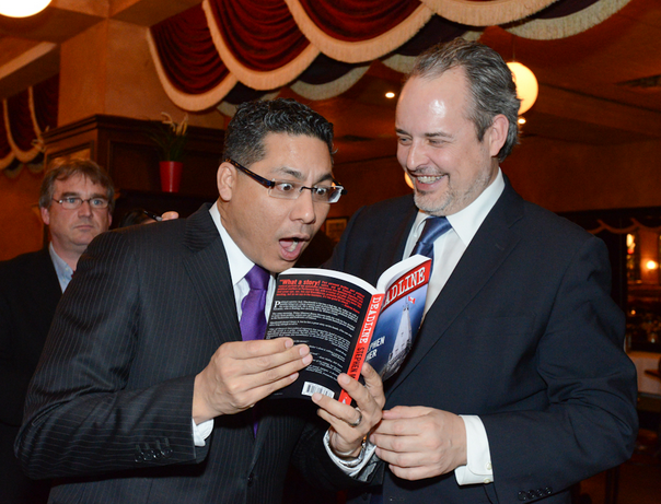 CTV's Richard Madan and Stephen Maher at the book launch for Deadline. Madan declared himself to be the book's 'sultry bartender.' iPolitics/Cynthia Munster